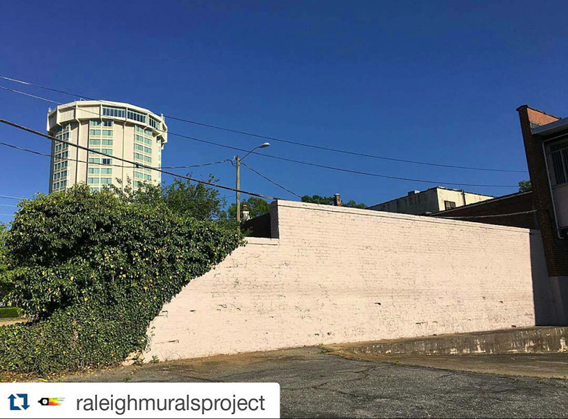 Artsplosure 2016 Wall Mural Site - White Brick Wall In Downtown Raleigh