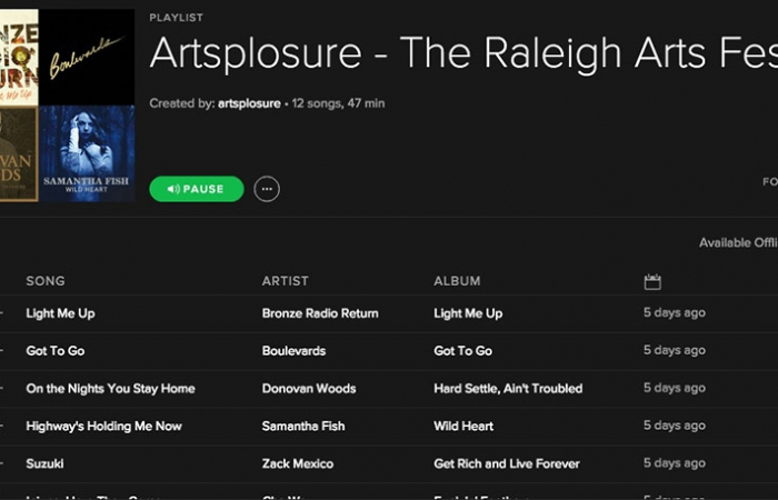 Artsplosure 2016 Spotify Playlist Screen Shot