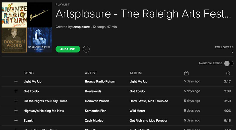 Listen: Artsplosure 2016's Spotify Playlist!
