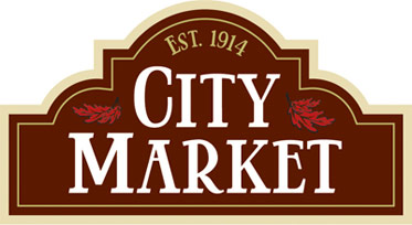 City Market Logo - White type on dark brown-red background with thick tan border and red flourishes
