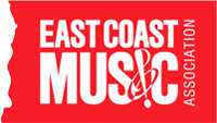 East Coast Music Association Logo - Red background with uppercase condensed type and a music note