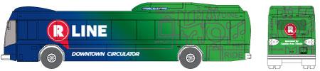 Raleigh R-Line Downtown Circulator bus illustration
