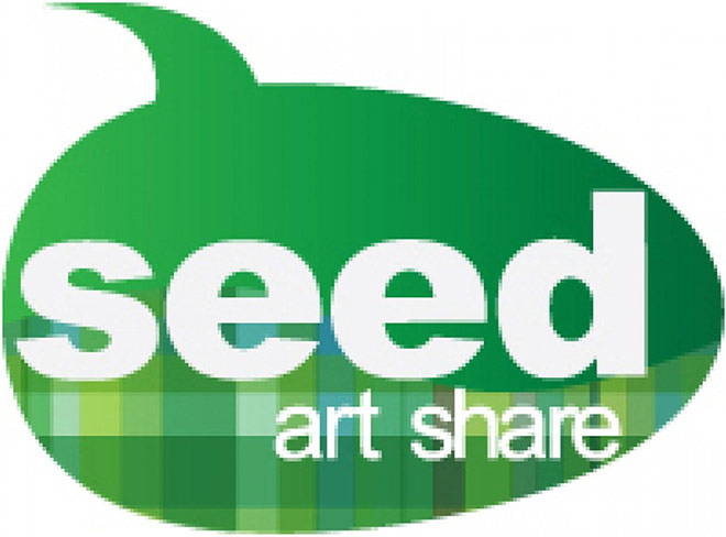 Seed Art Share Logo - Green Comment Bubble With White Sans-serif Type Inside