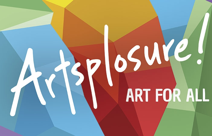 Artsplosure 2017 Logo - White Handwritten Type Over Multi-color Geometric Shapes