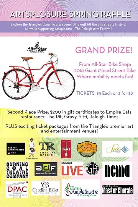 Artsplosure Spring Raffle print flyer showcasing prizes