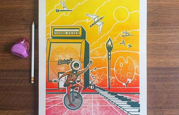 Limited Edition Artsplosure 2018 Posters In Theme Blue, Yellow, Orange, And Red