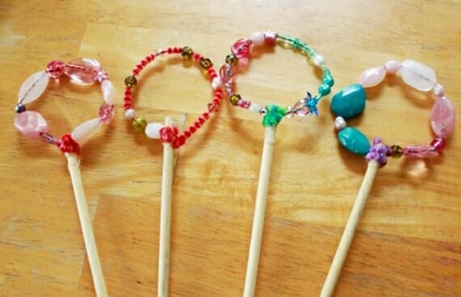 Four Beaded Bubble Wands on a table