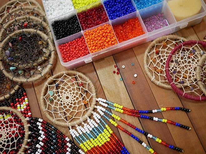Handmade dreamcatchers and beads