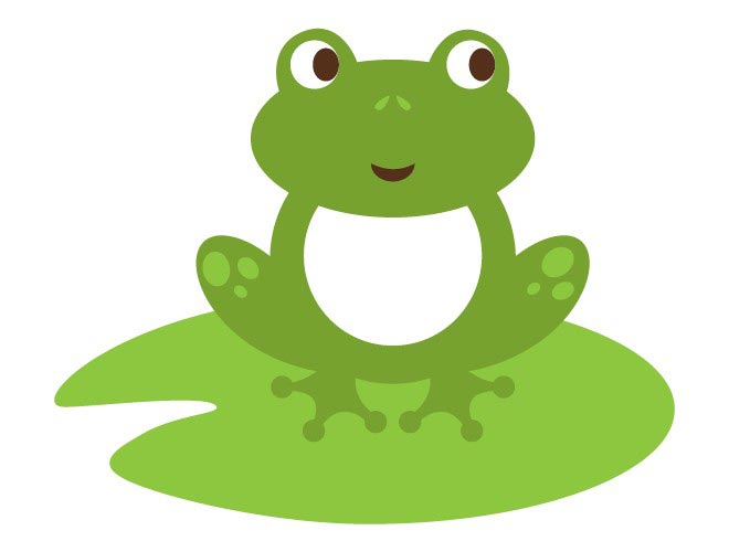 Illustration of a frog on a lily pad