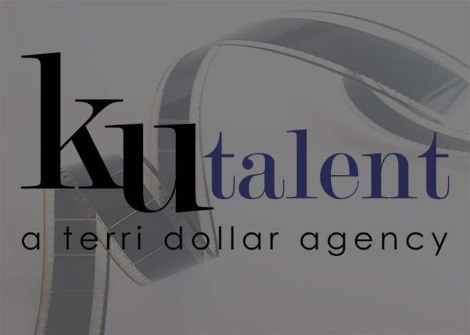 KU Talent Agency logo over black and white image of film strip