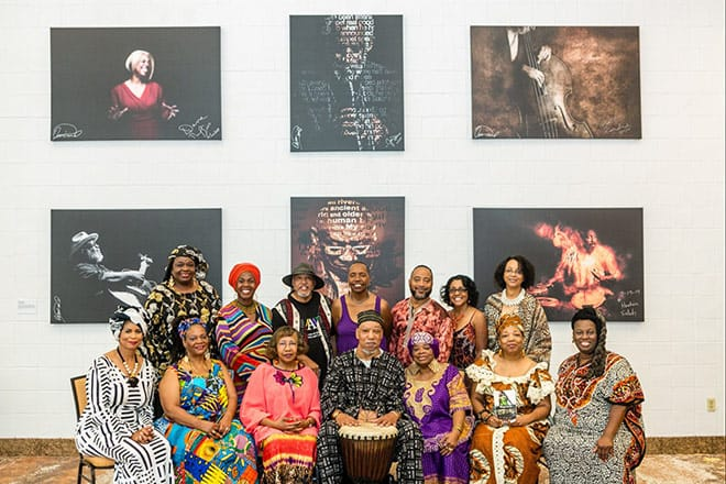 NC Association of Black Storytellers posing for a group photo in a museum