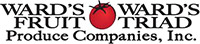 Wards Fruit and Produce Logo - Black serif type with red tomato in center