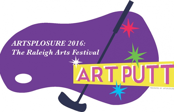 Art Putt 2016 - Purple Golf Course With Multi-colored Starbursts, Golf Club, And Pink Type