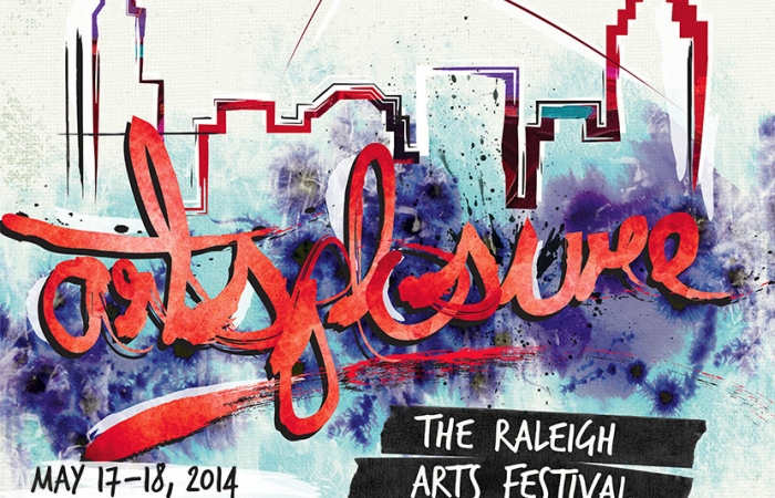 Artsplosure 2014 Logo - Watercolor Of Raleigh Skyline And Overlaying Script Type In Red