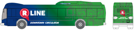 Raleigh R-Line Downtown Circulator bus illustration