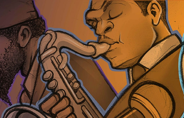 Painting Of Jazz Quintet By Sean Kernick