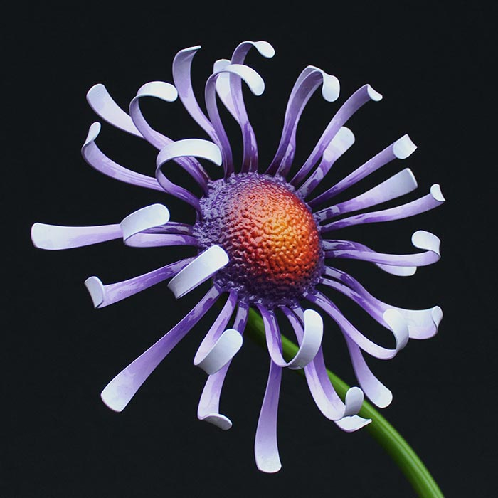 Matthew Leavell - metal flower with purple petals and red center