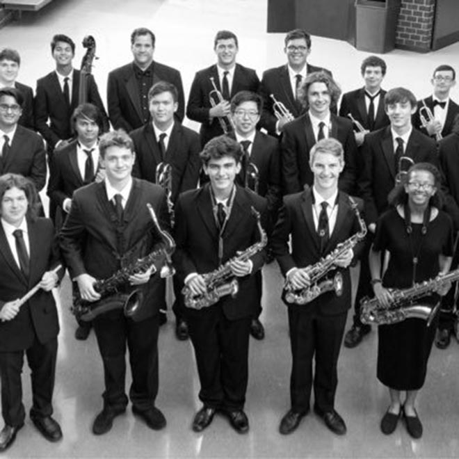 Black and white photo of Enloe Jazz Ambassadors