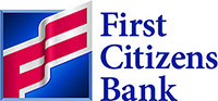 First Citizens Bank Logo - Red and blue flag with blue serif type to right
