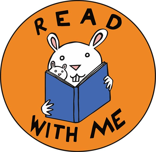 Read With Me Storytime Logo - Orange circle with black type and a bunny reading to its baby in center